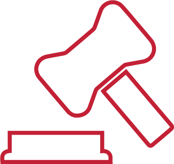 Law hammer icon in red outline
