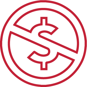 No dollar sign icon in red outline